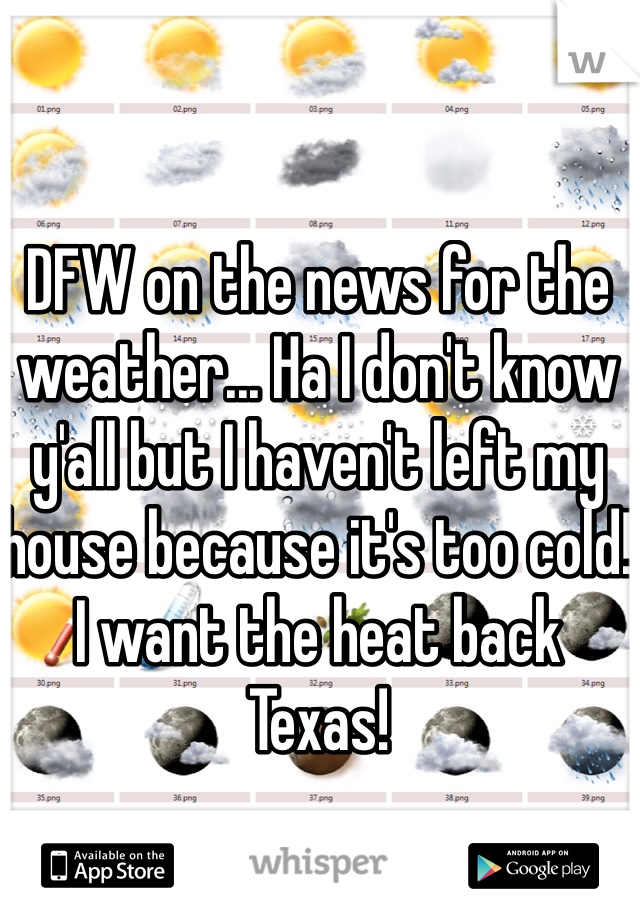 DFW on the news for the weather... Ha I don't know y'all but I haven't left my house because it's too cold! I want the heat back Texas!