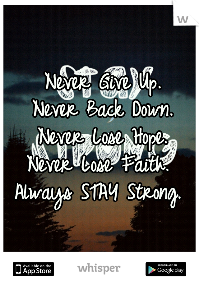 Never Give Up.  Never Back Down.  Never Lose Hope.  Never Lose Faith.   Always STAY Strong.
