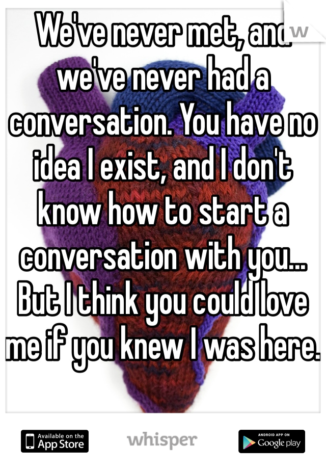 We've never met, and we've never had a conversation. You have no idea I exist, and I don't know how to start a conversation with you... But I think you could love me if you knew I was here.