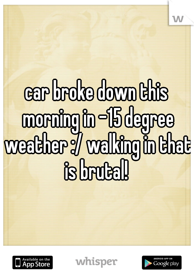 car broke down this morning in -15 degree weather :/ walking in that is brutal!