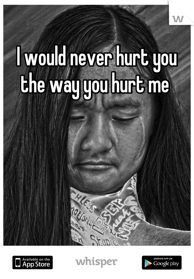 I would never hurt you the way you hurt me