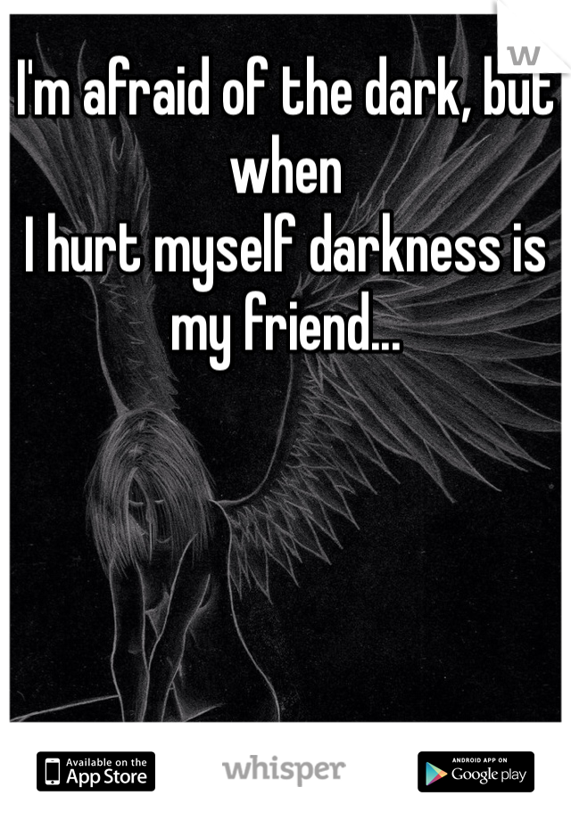 I'm afraid of the dark, but when I hurt myself darkness is my friend...