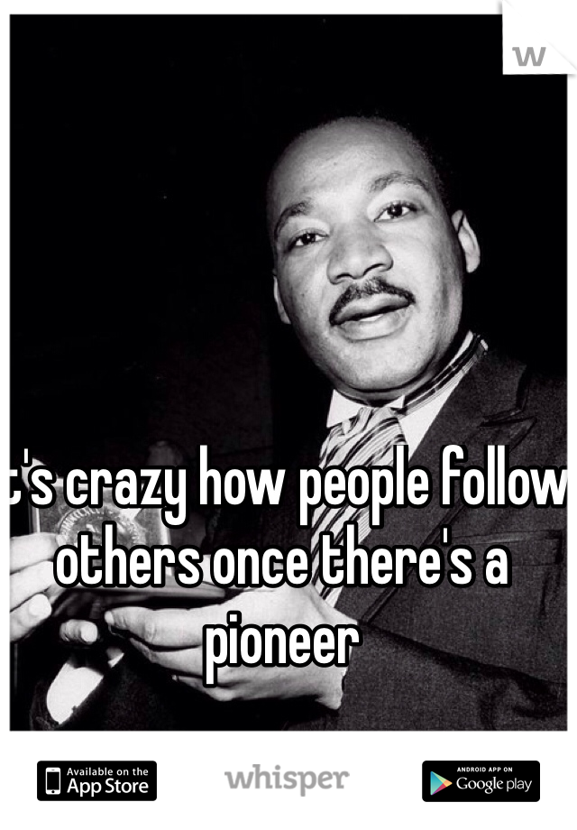 It's crazy how people follow others once there's a pioneer