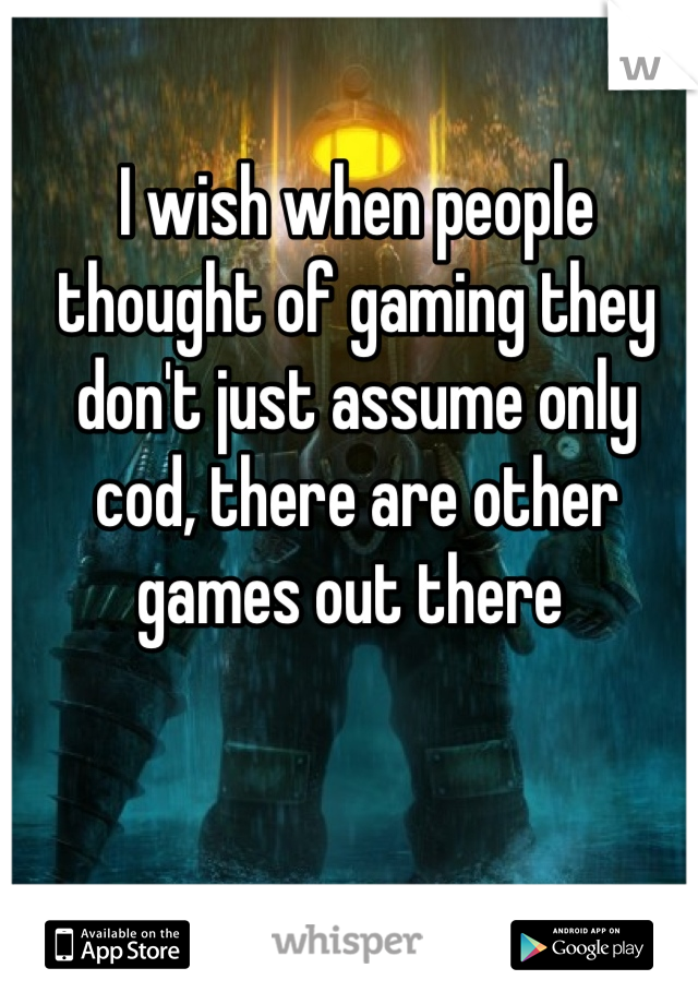 I wish when people thought of gaming they don't just assume only cod, there are other games out there