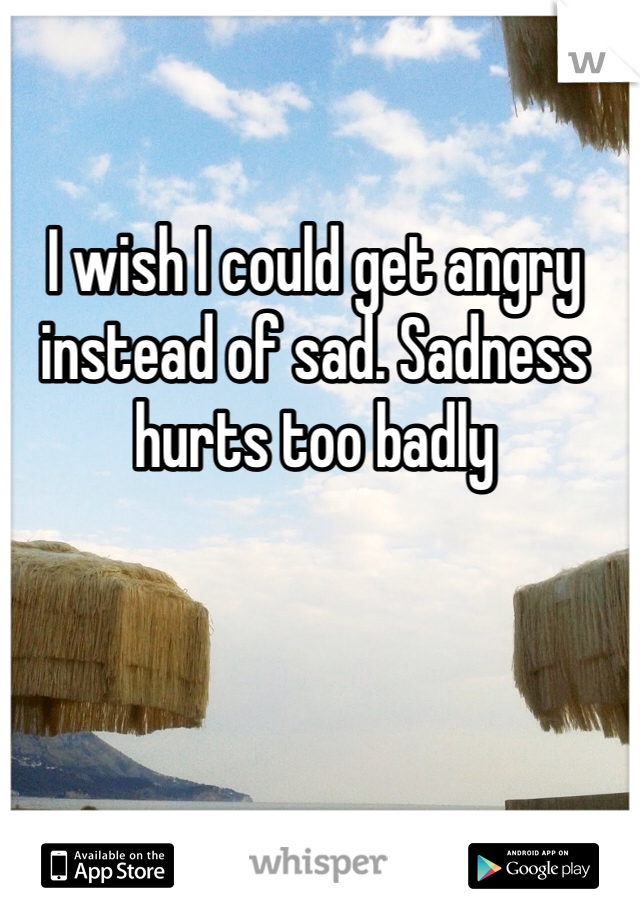 I wish I could get angry instead of sad. Sadness hurts too badly