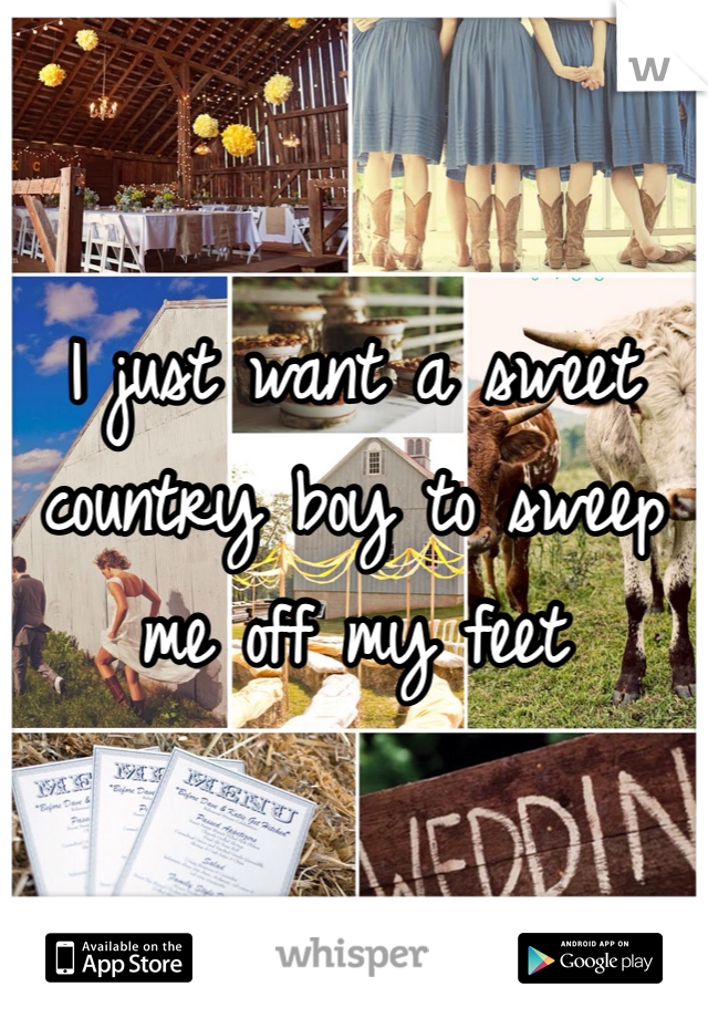 I just want a sweet country boy to sweep me off my feet
