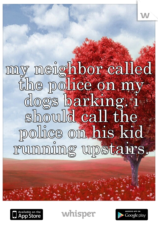 my neighbor called the police on my dogs barking. i should call the police on his kid running upstairs.