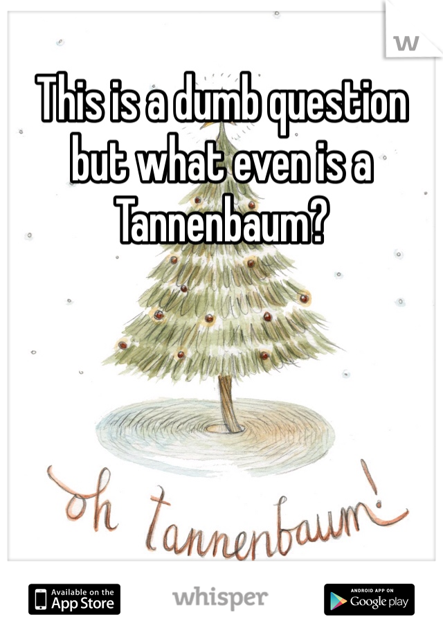 This is a dumb question but what even is a Tannenbaum?