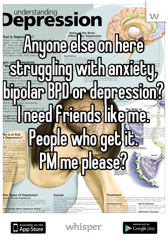 Anyone else on here struggling with anxiety, bipolar BPD or depression?  I need friends like me.  People who get it.  PM me please?