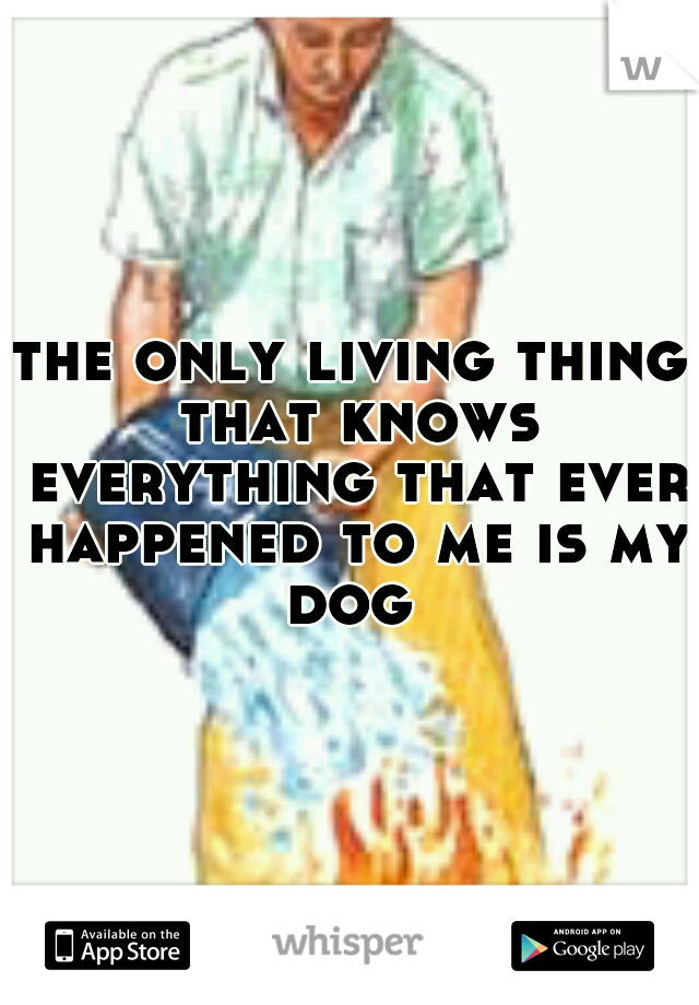 the only living thing that knows everything that ever happened to me is my dog