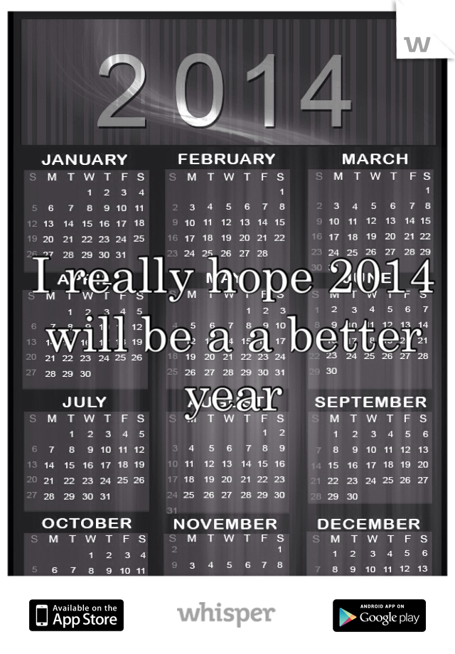 I really hope 2014 will be a a better year