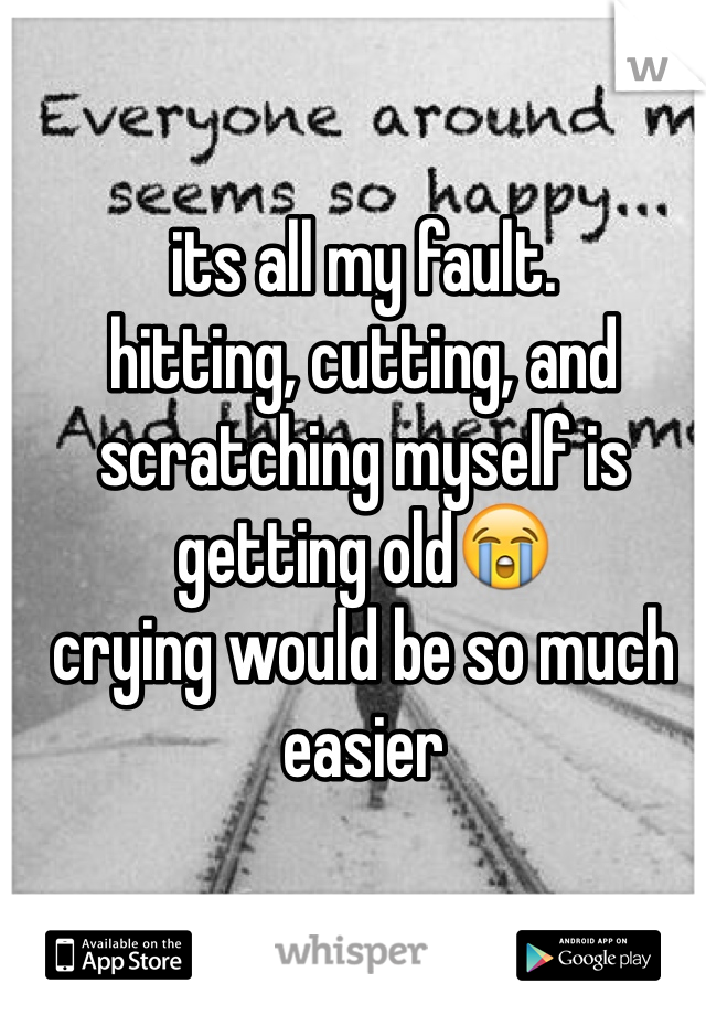 its all my fault. hitting, cutting, and scratching myself is getting old😭 crying would be so much easier