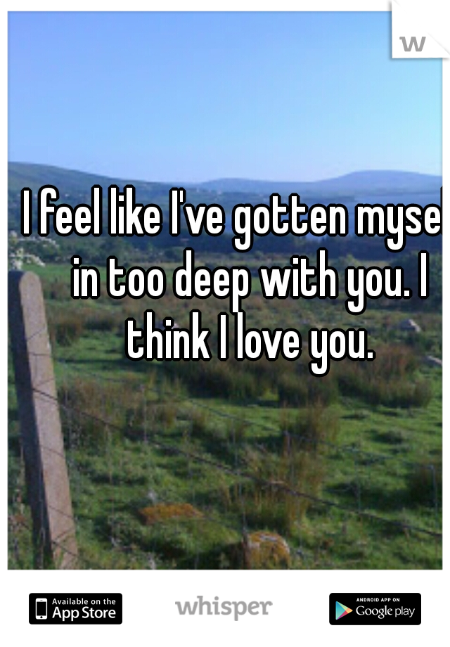 I feel like I've gotten myself in too deep with you. I think I love you.