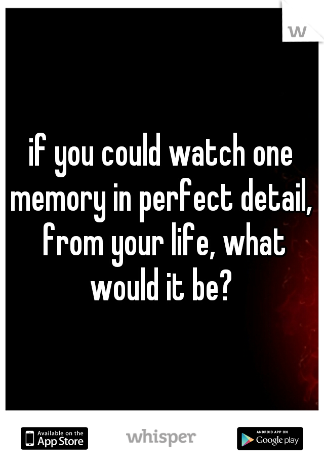 if you could watch one memory in perfect detail,  from your life, what would it be?