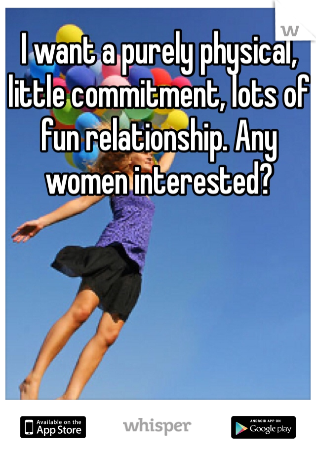 I want a purely physical, little commitment, lots of fun relationship. Any women interested?