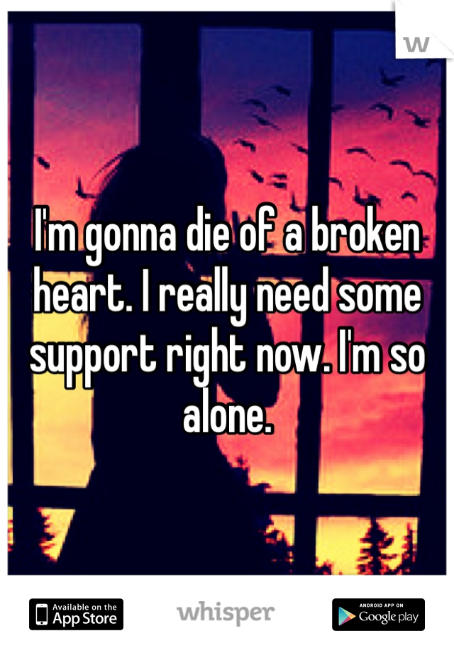 I'm gonna die of a broken heart. I really need some support right now. I'm so alone.