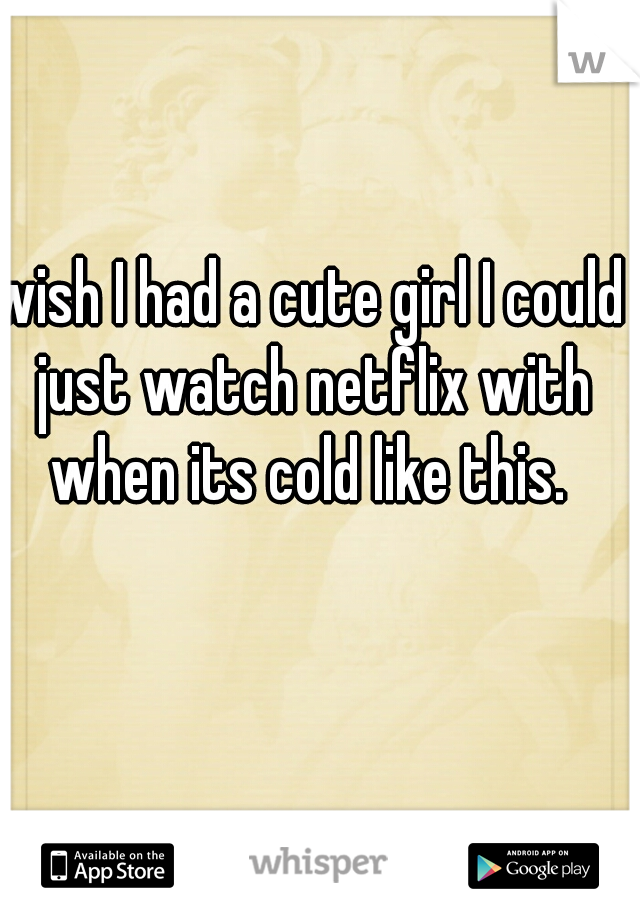 wish I had a cute girl I could just watch netflix with when its cold like this.