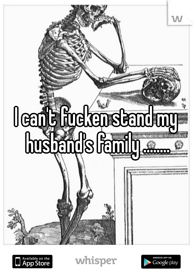 I can't fucken stand my husband's family ........