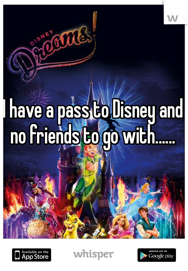 I have a pass to Disney and no friends to go with......