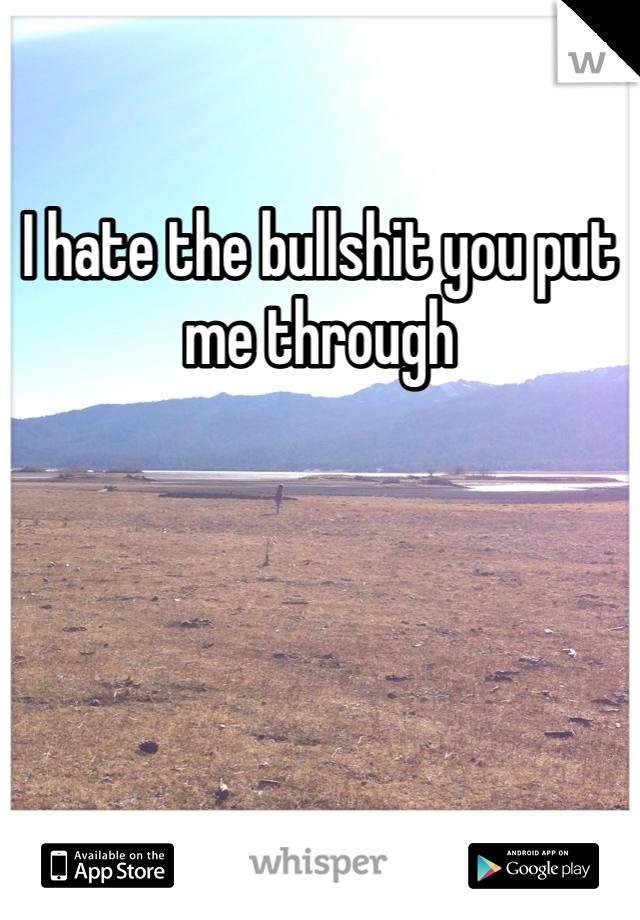I hate the bullshit you put me through