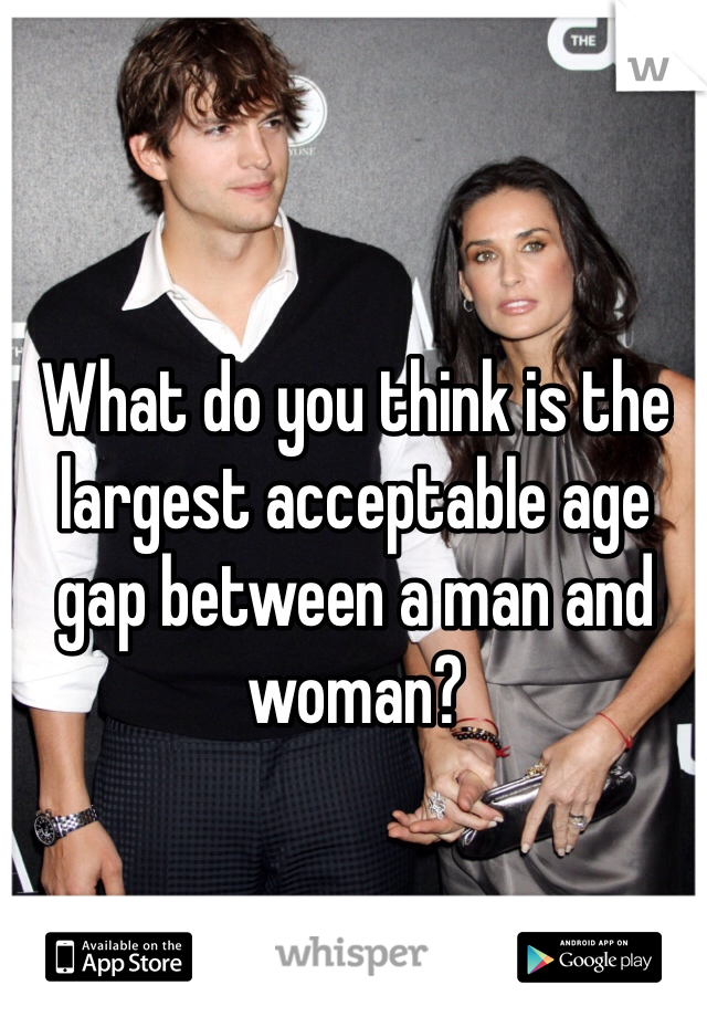 What do you think is the largest acceptable age gap between a man and woman?