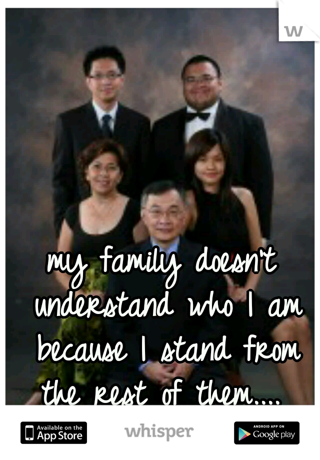 my family doesn't understand who I am because I stand from the rest of them....
