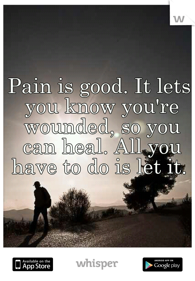 Pain is good. It lets you know you're wounded, so you can heal. All you have to do is let it.