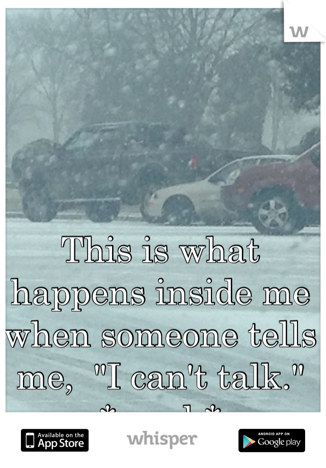 """This is what happens inside me when someone tells me,  """"I can't talk."""" *crash*"""