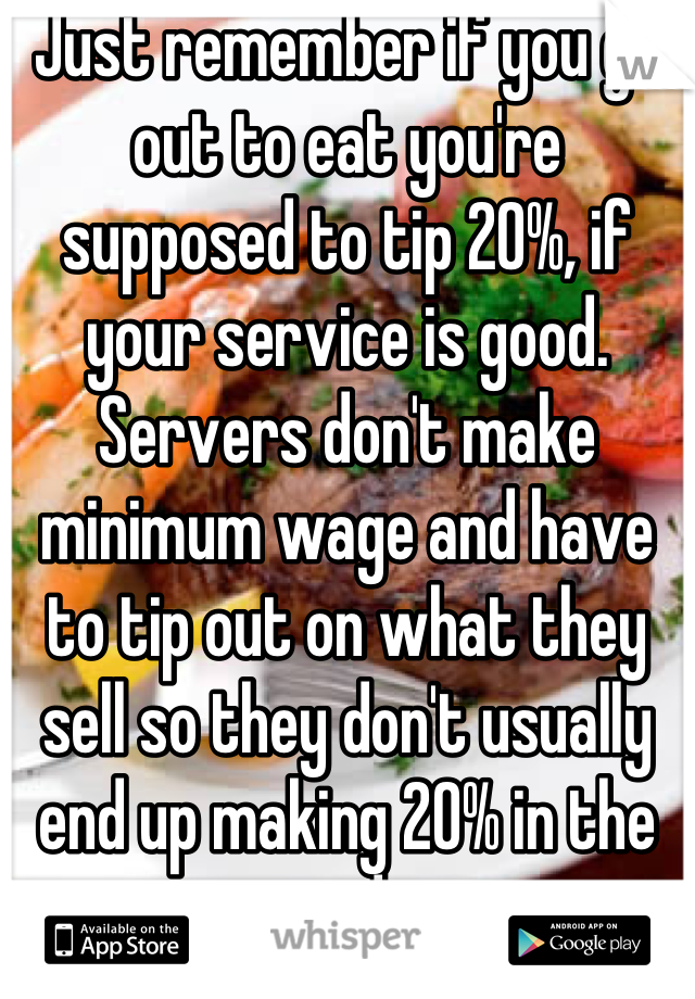 Just remember if you go out to eat you're supposed to tip 20%, if your service is good. Servers don't make minimum wage and have to tip out on what they sell so they don't usually end up making 20% in the end.