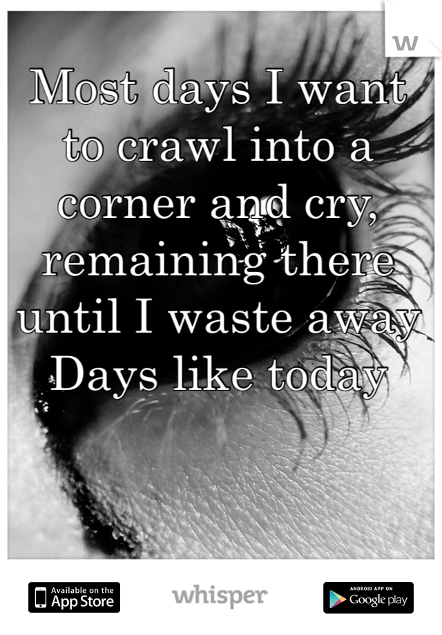 Most days I want to crawl into a corner and cry, remaining there until I waste away Days like today