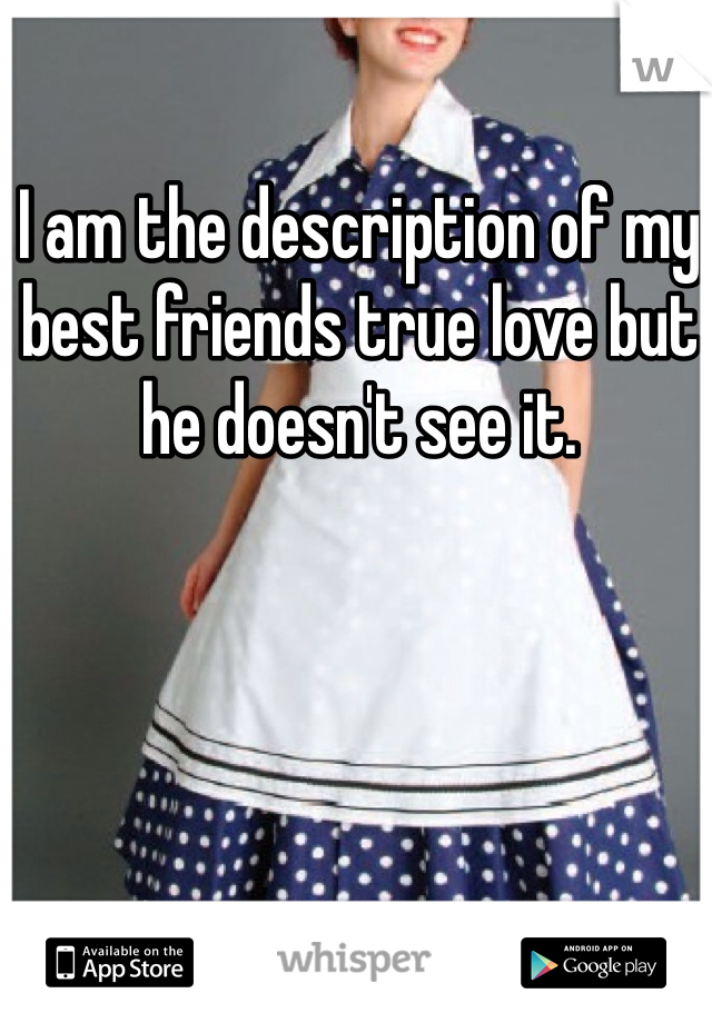 I am the description of my best friends true love but he doesn't see it.