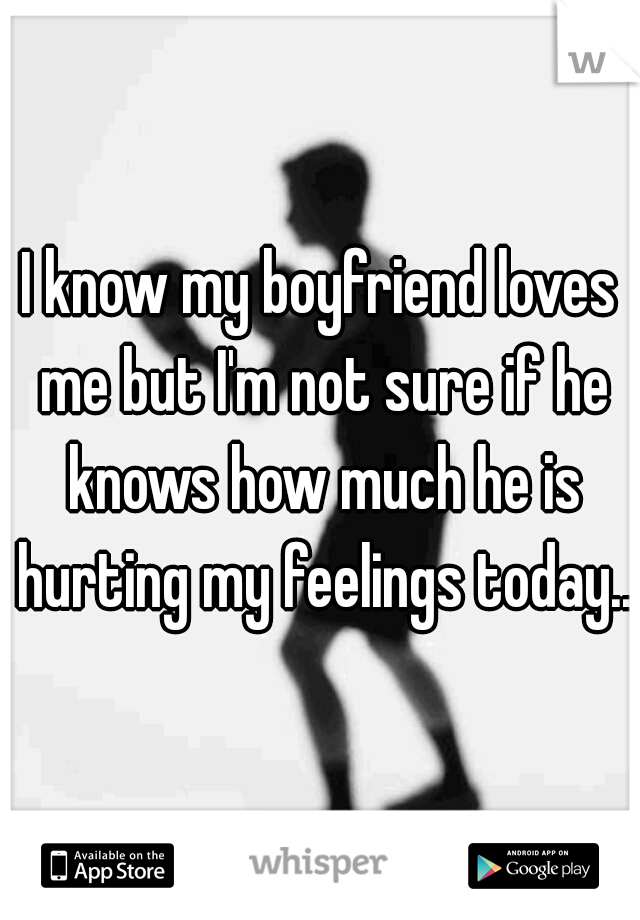 I know my boyfriend loves me but I'm not sure if he knows how much he is hurting my feelings today...