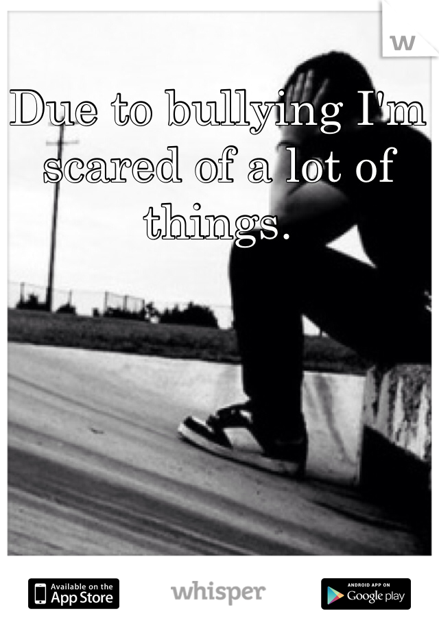 Due to bullying I'm scared of a lot of things.