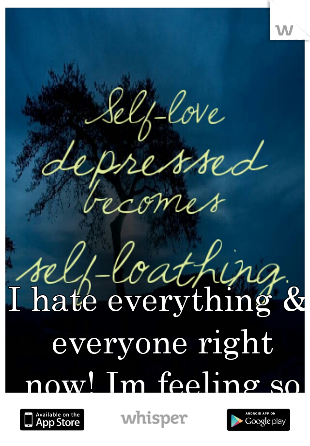 I hate everything & everyone right now! Im feeling so alone...