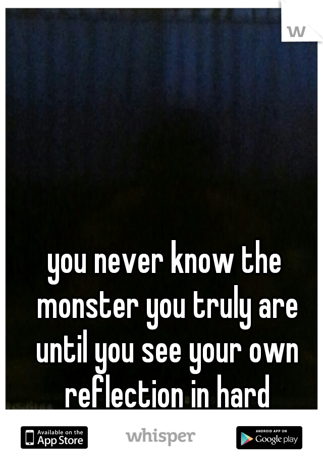 you never know the monster you truly are until you see your own reflection in hard times...you scare yourself