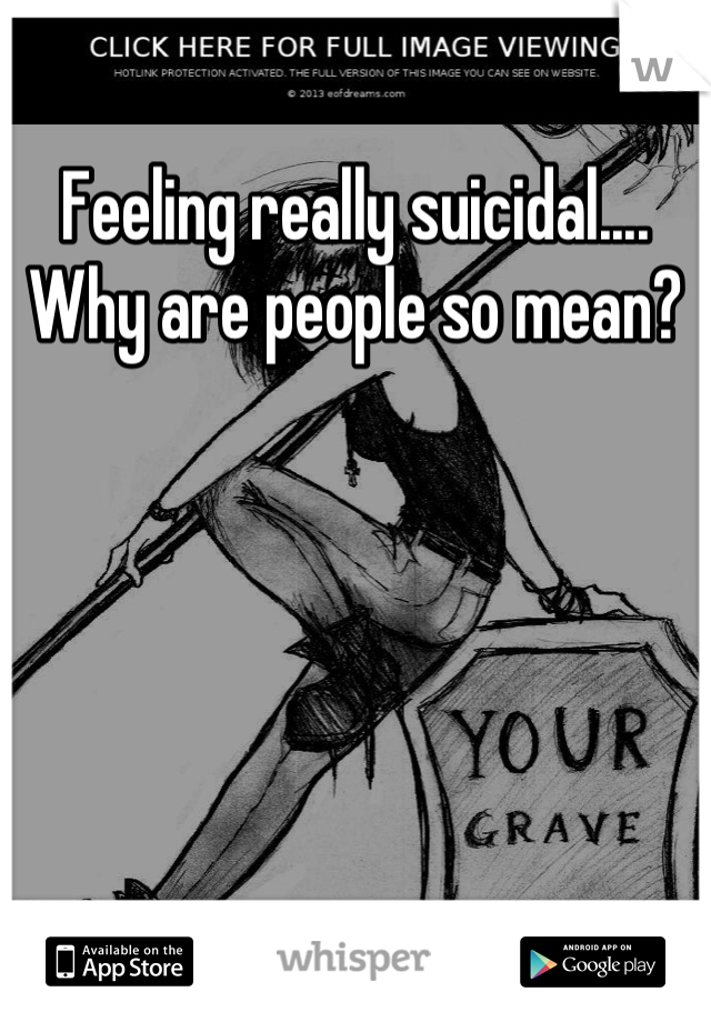 Feeling really suicidal.... Why are people so mean?