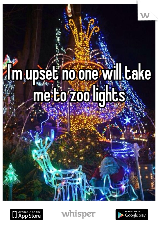I'm upset no one will take me to zoo lights