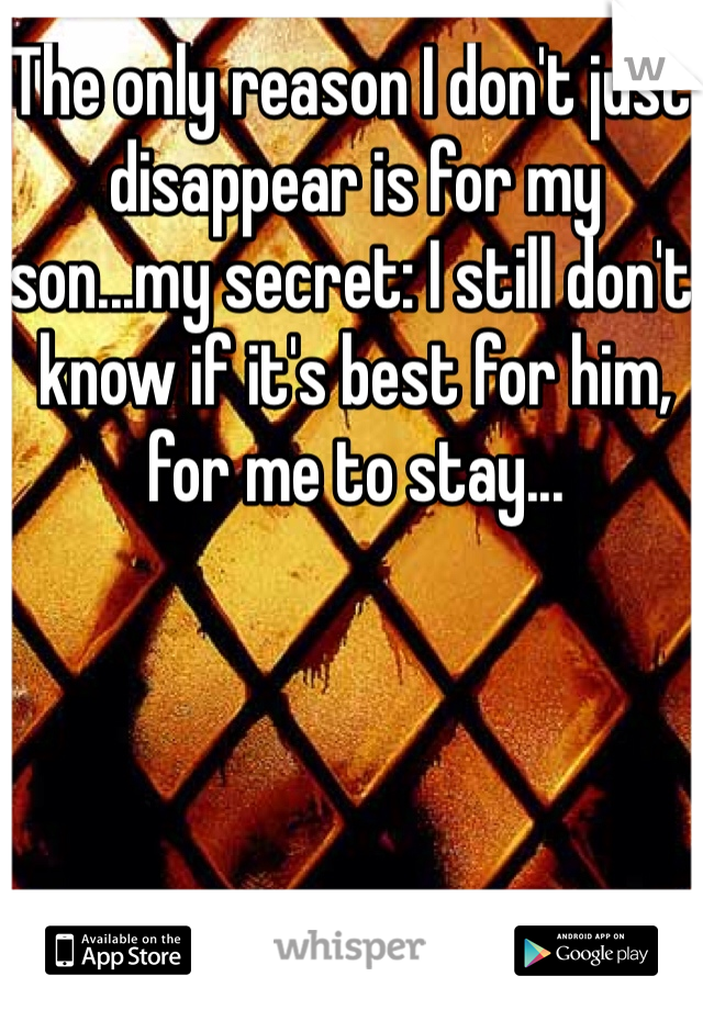 The only reason I don't just disappear is for my son...my secret: I still don't know if it's best for him, for me to stay...
