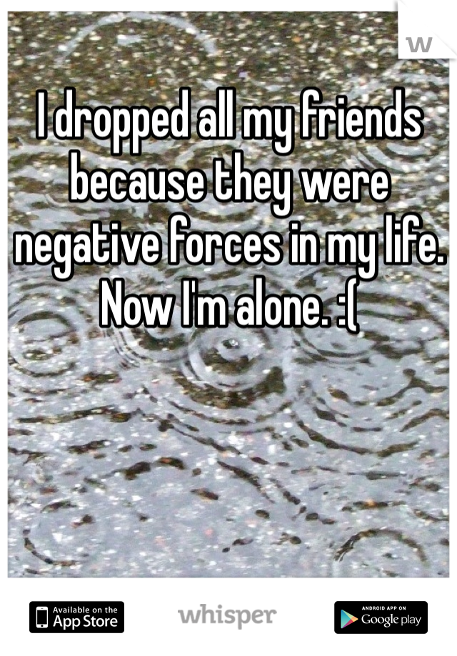 I dropped all my friends because they were negative forces in my life. Now I'm alone. :(