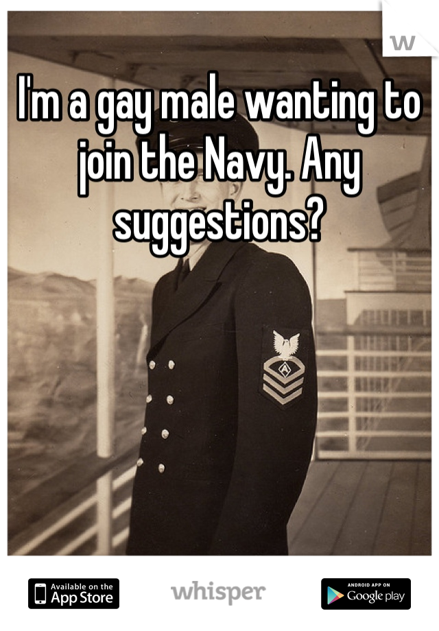I'm a gay male wanting to join the Navy. Any suggestions?
