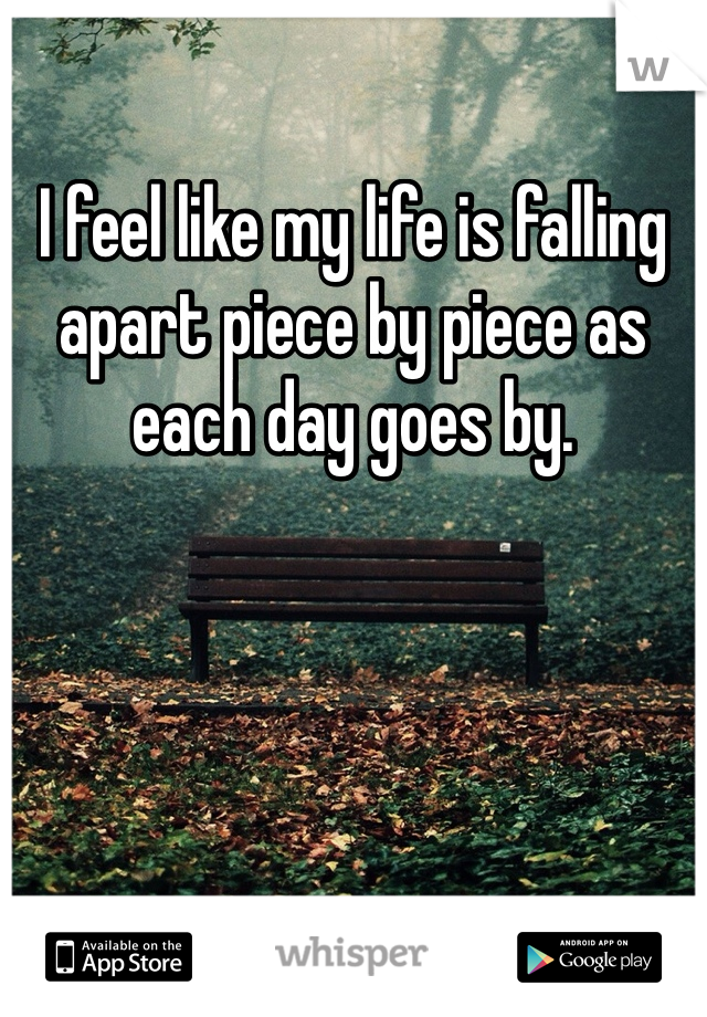 I feel like my life is falling apart piece by piece as each day goes by.