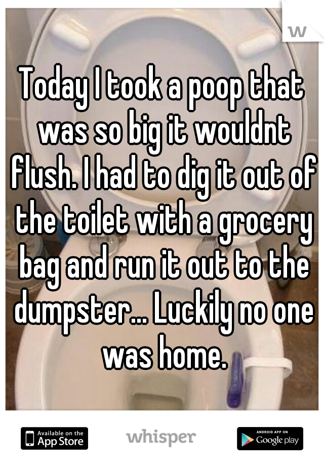 Today I took a poop that was so big it wouldnt flush. I had to dig it out of the toilet with a grocery bag and run it out to the dumpster... Luckily no one was home.