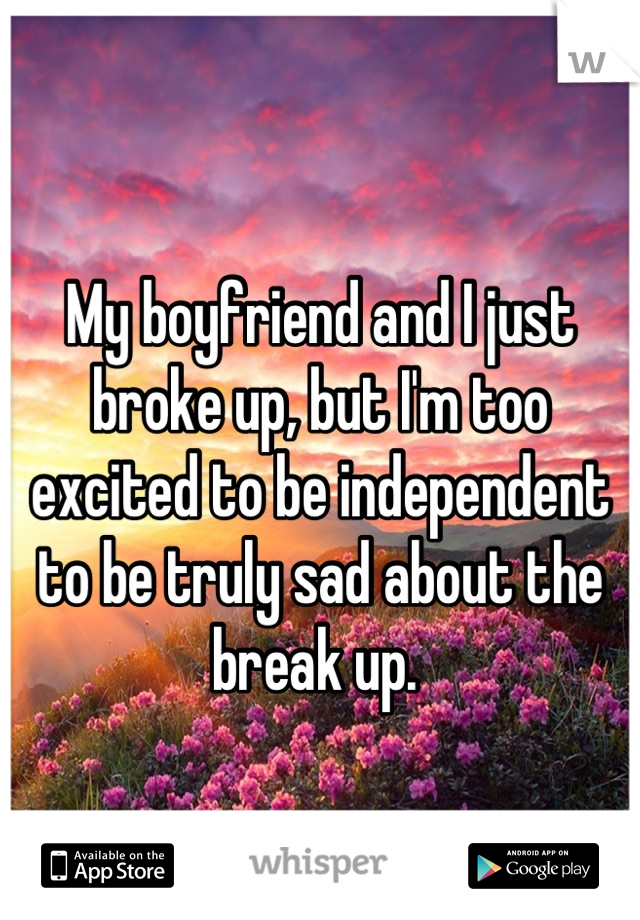My boyfriend and I just broke up, but I'm too excited to be independent to be truly sad about the break up.