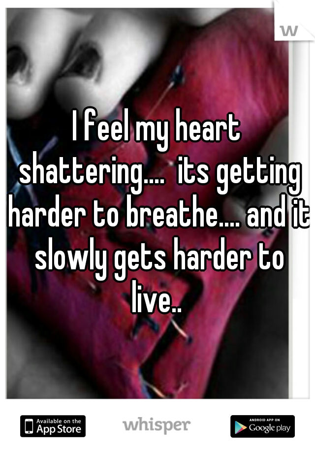 I feel my heart shattering....  its getting harder to breathe.... and it slowly gets harder to live..