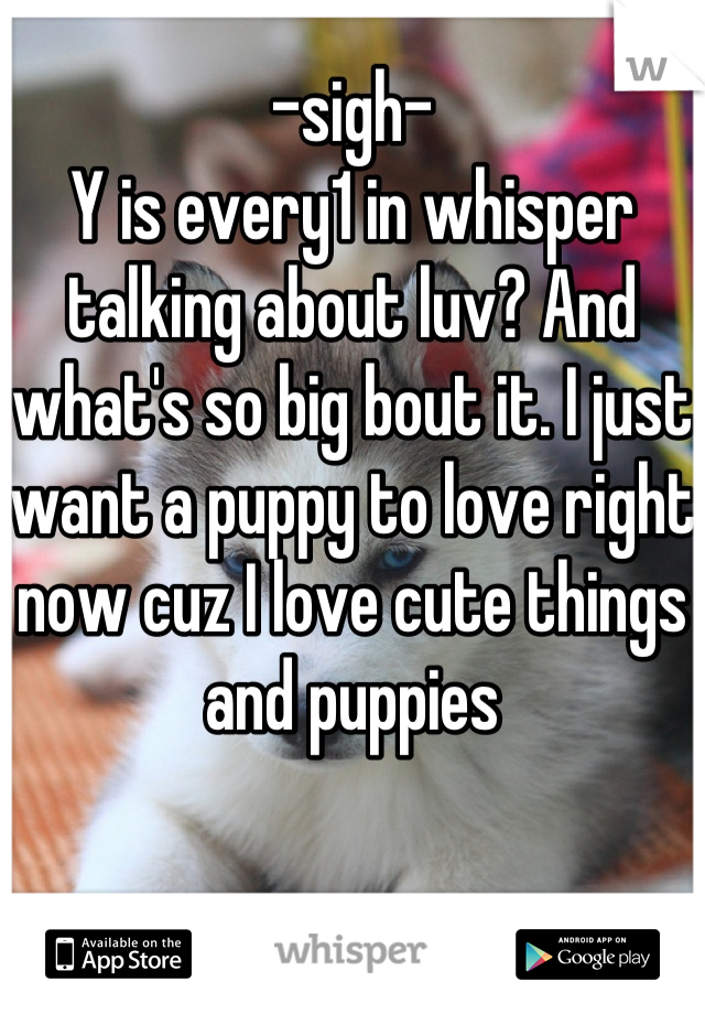-sigh- Y is every1 in whisper talking about luv? And what's so big bout it. I just want a puppy to love right now cuz I love cute things and puppies