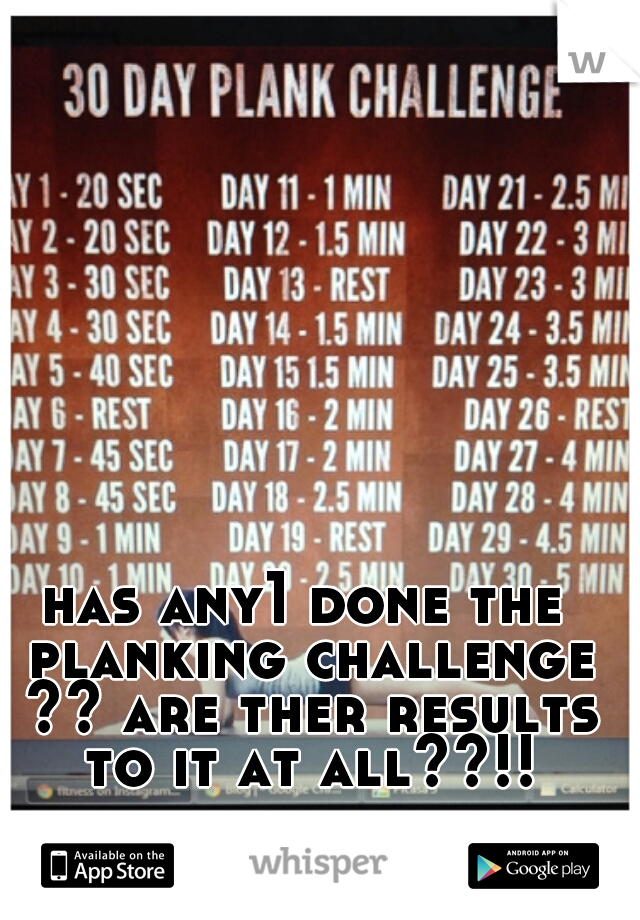 has any1 done the planking challenge ?? are ther results to it at all??!!