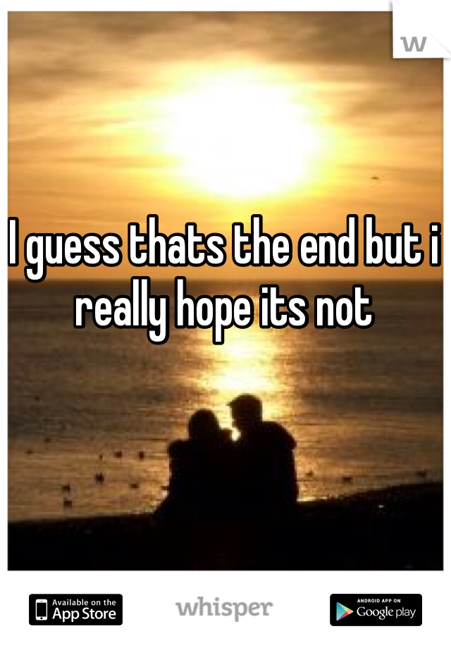 I guess thats the end but i really hope its not