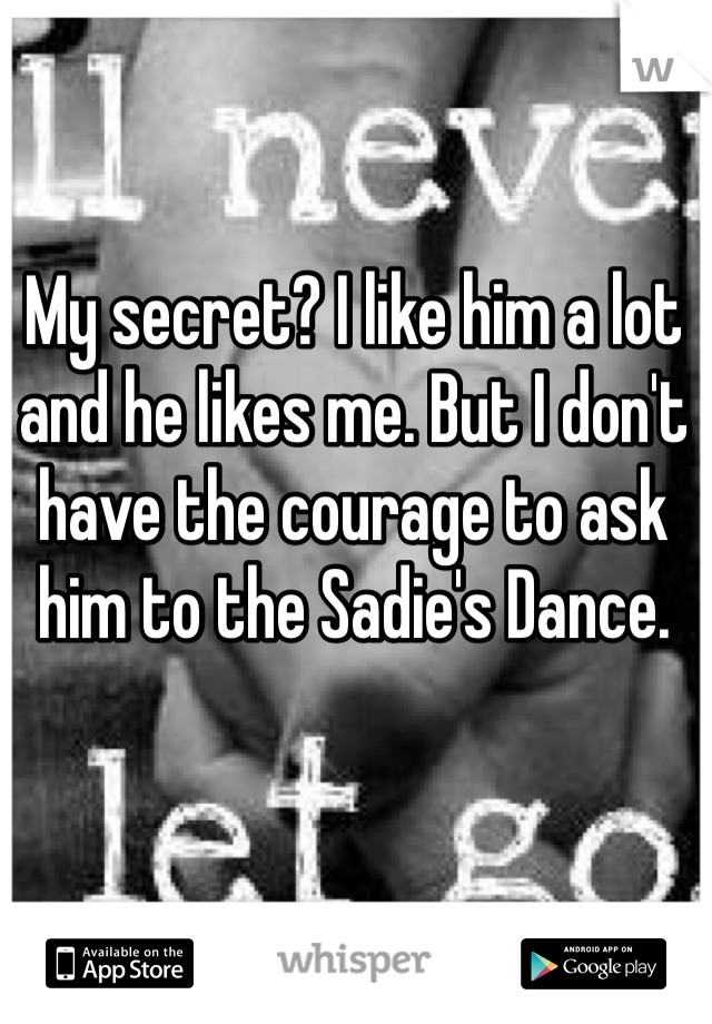 My secret? I like him a lot and he likes me. But I don't have the courage to ask him to the Sadie's Dance.