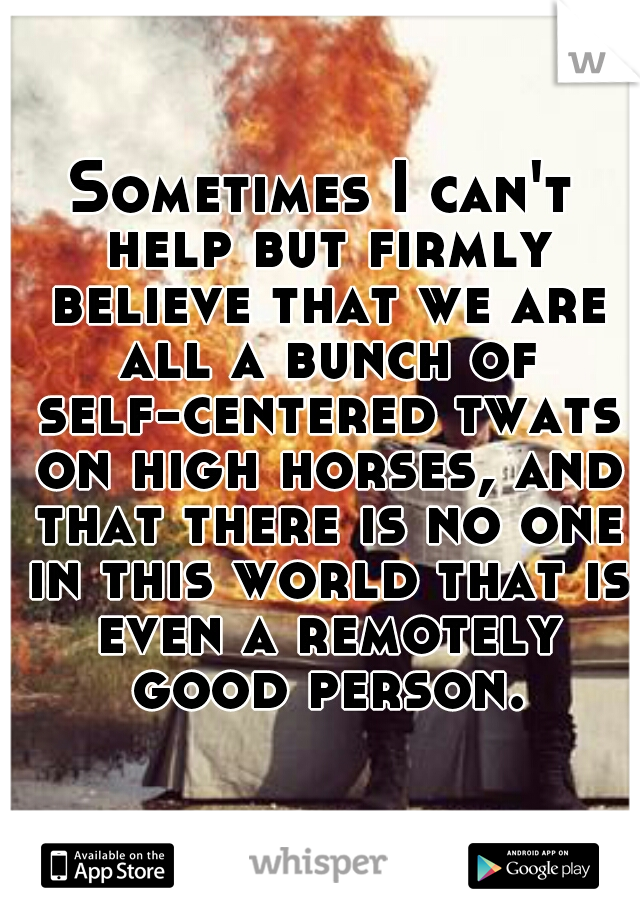 Sometimes I can't help but firmly believe that we are all a bunch of self-centered twats on high horses, and that there is no one in this world that is even a remotely good person.