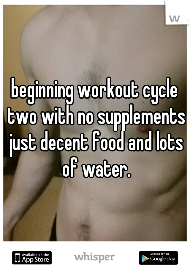 beginning workout cycle two with no supplements just decent food and lots of water.